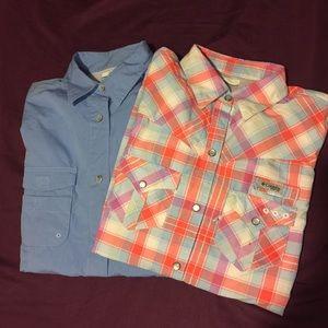 BUNDLE Columbia PFG Long Sleeve Nylon Cotton Shirt